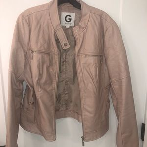 Guess Light Pink Faux Leather Jacket